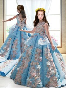 Appliques Little Girls Pageant Dress Blue Backless Sleeveless Court Train
