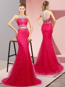 Hot Pink Prom Evening Gown Prom and Party and Military Ball with Beading Scoop Sleeveless Sweep Train Lace Up