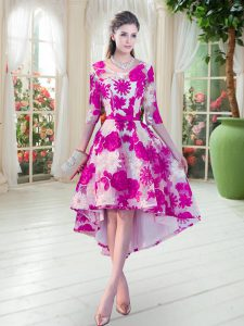 Fine Lace Scoop Half Sleeves Lace Up Belt Prom Gown in Fuchsia