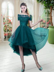 High Low Peacock Green Prom Dresses Tulle Short Sleeves Lace