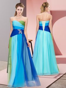 Inexpensive Multi-color Sweetheart Neckline Beading Prom Dresses Sleeveless Lace Up