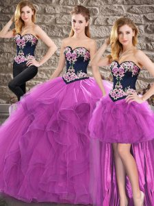 Custom Made Sleeveless Tulle Floor Length Lace Up 15th Birthday Dress in Purple with Beading and Embroidery