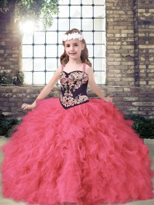 Floor Length Coral Red Pageant Gowns For Girls Straps Sleeveless Lace Up