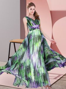 Dynamic Floor Length Multi-color Prom Gown Printed Sleeveless Pattern