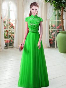 Gorgeous Tulle Cap Sleeves Floor Length Evening Dress and Appliques