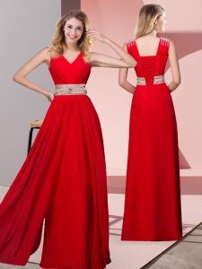 Red Lace Up Prom Gown Beading Sleeveless Floor Length