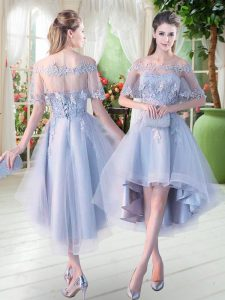 Appliques Prom Dress Light Blue Lace Up Half Sleeves High Low