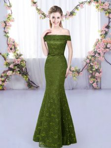 Olive Green Lace Up Off The Shoulder Sleeveless Floor Length Bridesmaid Gown Lace