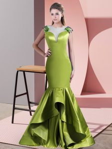 Sweep Train Mermaid Evening Dress Green and Olive Green Scoop Satin Sleeveless Side Zipper