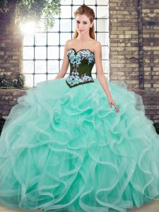 Vintage Sleeveless Embroidery and Ruffles Lace Up Quinceanera Gowns with Aqua Blue Sweep Train