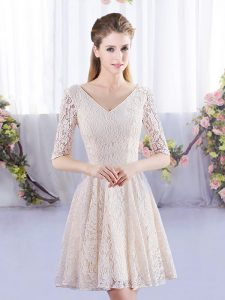 New Style Champagne Empire V-neck Half Sleeves Lace Mini Length Lace Up Bridesmaid Gown