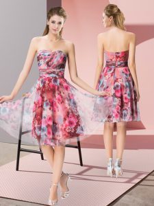 Custom Design Sweetheart Sleeveless Zipper Prom Party Dress Multi-color Printed