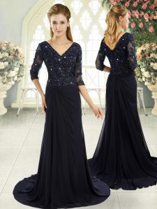 Custom Fit Navy Blue V-neck Zipper Beading and Lace and Appliques Homecoming Dress Sweep Train Half Sleeves
