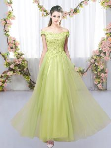 Clearance Yellow Green Lace Up Bridesmaid Dresses Lace Sleeveless Floor Length