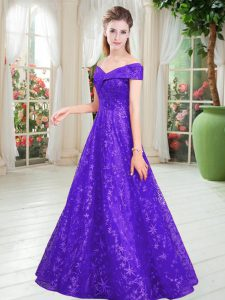 Fashion Purple Prom Dress Prom and Party with Beading Off The Shoulder Sleeveless Lace Up