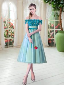 Enchanting Aqua Blue Sleeveless Appliques Tea Length Prom Evening Gown