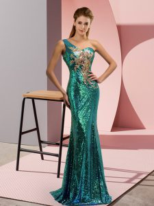 Popular One Shoulder Sleeveless Sweep Train Lace Up Prom Dress Green Sequined