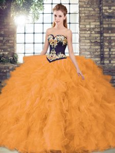 Customized Orange Organza Lace Up Sweet 16 Dresses Sleeveless Floor Length Beading and Embroidery