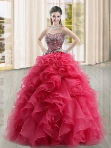 Attractive Organza Sleeveless Floor Length 15th Birthday Dress and Beading and Ruffles