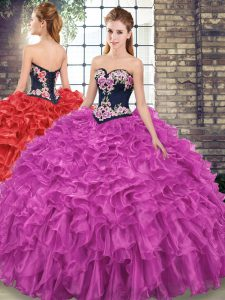 Fuchsia Lace Up Sweetheart Embroidery and Ruffles Ball Gown Prom Dress Organza Sleeveless Sweep Train