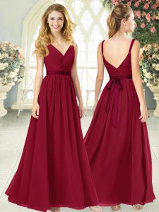Customized Wine Red V-neck Neckline Ruching Homecoming Dress Sleeveless Backless