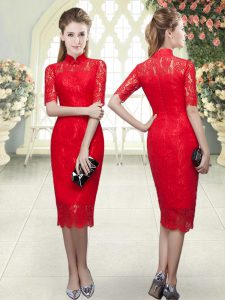 High-neck Half Sleeves Evening Dress Tea Length Beading and Lace Red