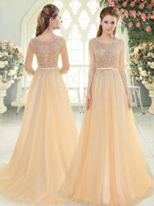 Suitable Beading Womens Evening Dresses Champagne Zipper 3 4 Length Sleeve Sweep Train