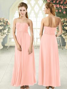 Decent Peach Sleeveless Ankle Length Lace Zipper Prom Dresses