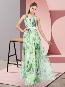Multi-color Sleeveless Pattern Floor Length Prom Party Dress