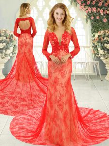 On Sale Red Mermaid Lace Homecoming Dress Backless Tulle Long Sleeves