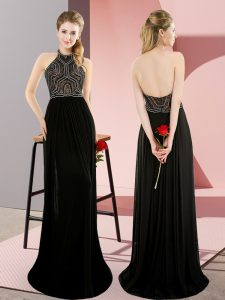Adorable Black Sleeveless Chiffon Sweep Train Backless Evening Party Dresses for Prom and Party and Military Ball
