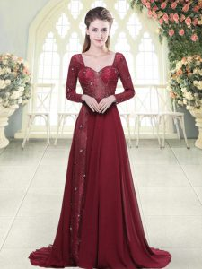 Burgundy Sweetheart Zipper Beading and Appliques Dress for Prom Brush Train Long Sleeves