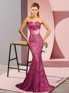 Sweetheart Sleeveless Sweep Train Backless Dress for Prom Pink Sequined