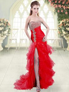 Organza Sweetheart Sleeveless Brush Train Lace Up Beading and Ruffled Layers Evening Dress in Red