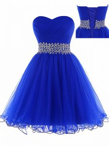 Custom Design Royal Blue A-line Ruching Prom Dresses Lace Up Tulle Sleeveless Mini Length