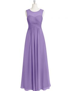 Romantic Lavender Scoop Zipper Ruching Prom Dress Sleeveless