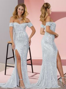 Short Sleeves Sweep Train Ruching Prom Gown
