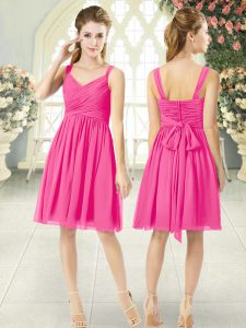 Sumptuous Hot Pink Empire Chiffon Straps Sleeveless Ruching Knee Length Zipper Evening Dress
