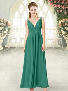 Green Backless Ruching Sleeveless Ankle Length