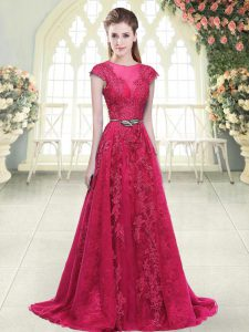 Pink A-line Beading and Lace and Appliques Prom Dresses Zipper Tulle Cap Sleeves