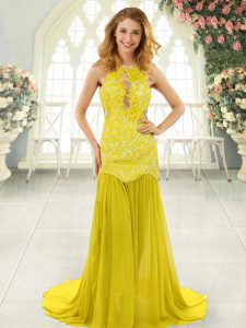 Custom Designed Chiffon Sleeveless Homecoming Dress Brush Train and Lace