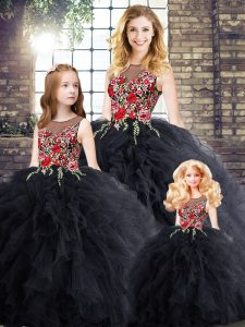 Affordable Black Ball Gowns Scoop Sleeveless Embroidery and Ruffles Floor Length Zipper Vestidos de Quinceanera