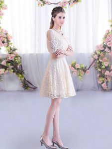Short Sleeves Mini Length Damas Dress and Lace