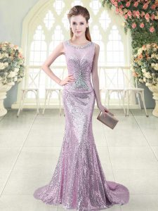 Decent Lilac Scoop Neckline Beading and Sequins Prom Evening Gown Sleeveless Zipper