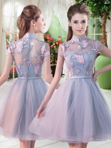 Grey Tulle Zipper High-neck Short Sleeves Knee Length Prom Dresses Appliques