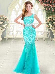 Attractive Sleeveless Floor Length Beading and Lace Zipper Prom Dresses with Aqua Blue