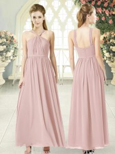 Perfect Pink Halter Top Zipper Ruching Prom Evening Gown Sleeveless