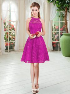 Fuchsia Prom Dress Prom and Party with Lace Scoop Sleeveless Zipper