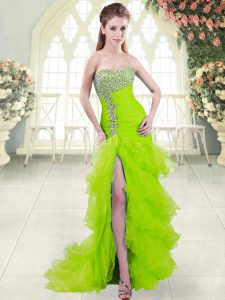 Admirable Mermaid Organza Sweetheart Sleeveless Beading and Ruffled Layers Lace Up Prom Gown Brush Train