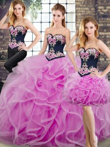 Lace Up Ball Gown Prom Dress Lilac for Military Ball and Sweet 16 and Quinceanera with Beading and Embroidery and Ruffles Sweep Train